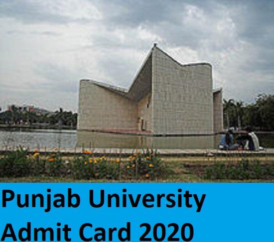 Punjab University UG/PG Admit Card 2020 - Puchd.ac.in BA BCOM B.Ed BSC MA MSC Hall Ticket 2020 Download 1