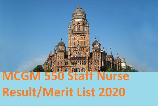 MCGM 550 Staff Nurse Result/Merit List 2020 - Download BMC AMO, Nurse Cut Off Marks 2020 Portal.mcgm.gov.in 1
