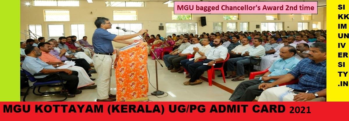MGU Kottyam Ist, 2nd, 3rd Year Admit Card 2021 BA BSC BCOM MA MSc Exam Hall Ticket 1