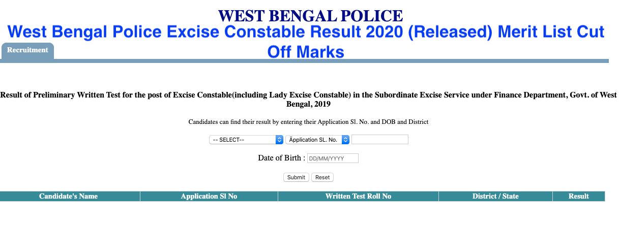 West Bengal Police Excise Constable Result 2020 (Released) Merit List Cut Off Marks