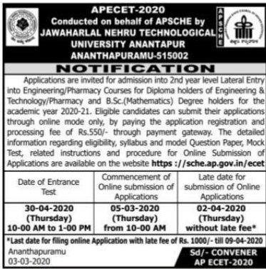AP ECET Online Application Form 2020 Sche.ap.Gov.in Exam Dates 1
