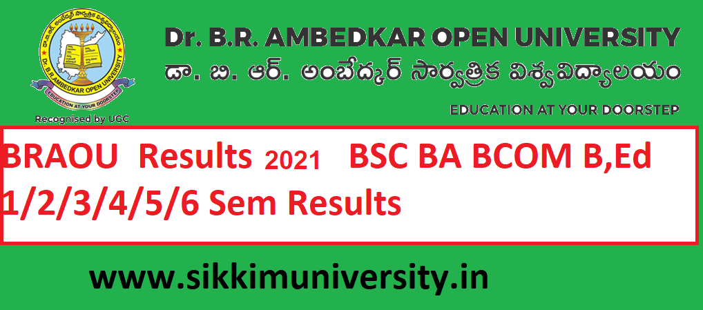 BRAOU Results 2021 BSC BA BCOM B,Ed 1/2/3/4/5/6 Sem Results at Braou.ac.in 1