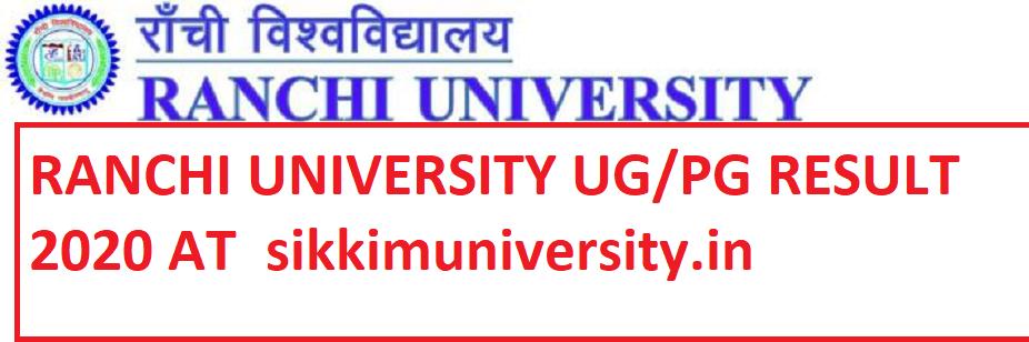 Ranchi University Result 2021 UG PG Part I, II, III Sem Ranchi University Exam Result 2021 Online 1