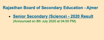 Rajasthan Board 12th Science Result 2020