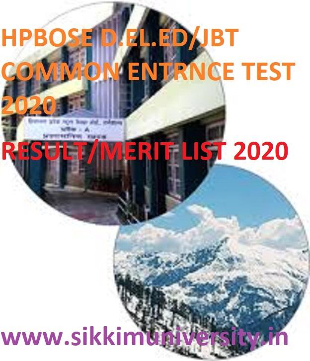 HP JBT/D.El.Ed CET Result/Merit List 2020 (Coming Soon) - Himachal Pradesh DELED/JBT CET 2020 Merit List 1
