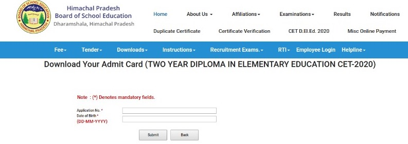 hp ded admit card 2020