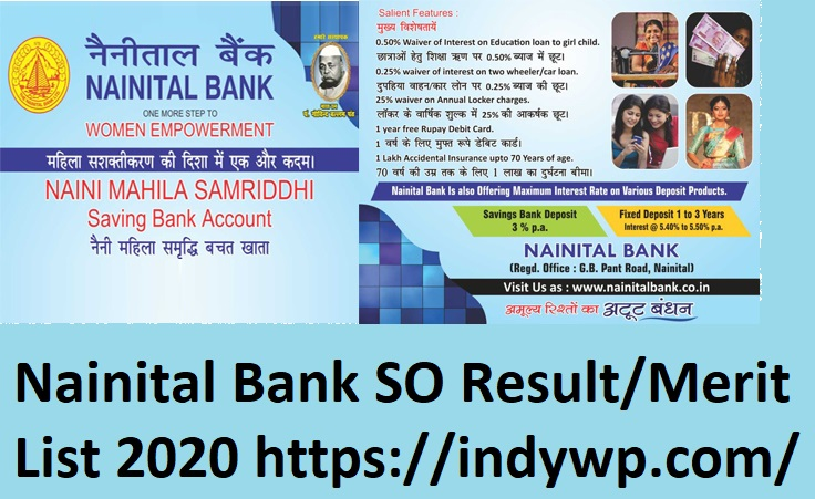 Nainital Bank Specialist Officer Merit List/Cut Off Marks 2020 - @nainitalbank.co.in SO Sept. Exam Result 2020 1