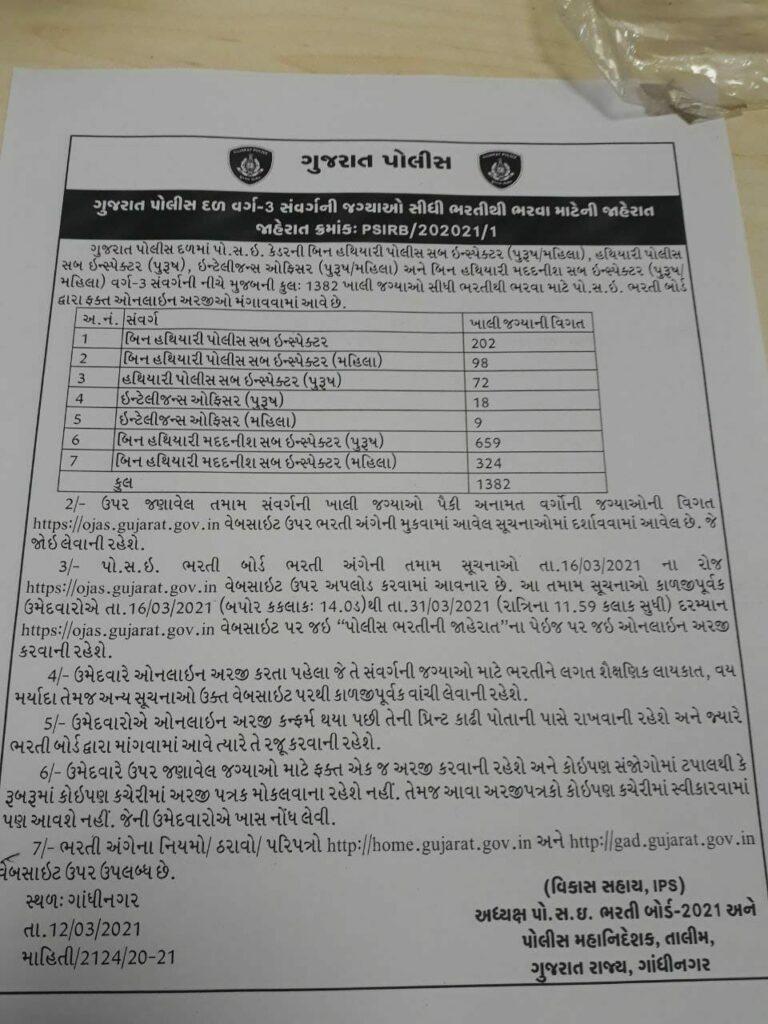 Gujarat Police 1382 ASI PSI Recruitment 2021 Online Apply 1