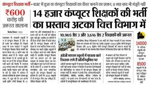 Rajasthan 14601 पद Computer शिक्षक Recruitment 2021 Notification Online Form Date @Rpsc.rajasthan.gov.in 2