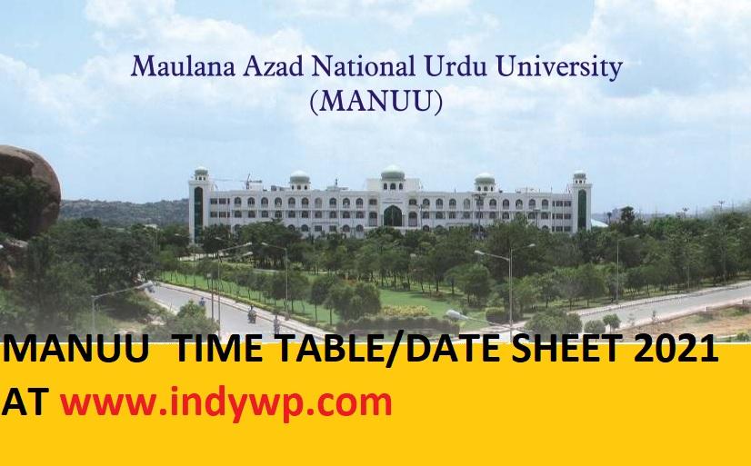 MANUU Exam Date Sheet 2021 (OUT) MANUU UG & PG Time Table 2021 1