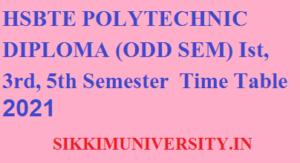 HSBTE Odd Sem. Diploma Nov./Dec. Date Sheet 2021 - Haryana Polytechnic Ist, 3rd, 5th Sem Time Table 2021 1