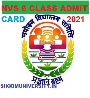 NVS 6th Class Entrance Test Admit Card 2021 JNV Smiti VI Hall ticket 1