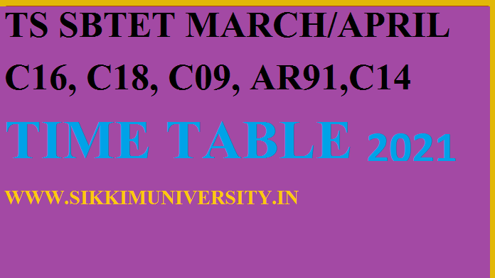 TS SBTET Diploma Reg/Supply Time Table March/April 2021 Exam Schedule Download 1