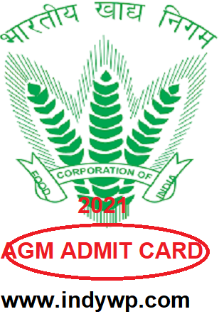 FCI AGM Admit Card 2021 (Released @01.07.2021) Direct Link To download FCI AGM Hall Ticket 1