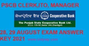 Punjab State Coop. Bank 28 & 29 Aug. 2021 Exam Answer Key - PSCB ITO/Clerk/Manager/Steno Exam Answer Key 2021 1